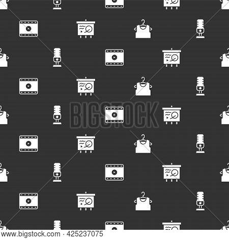 Set Sleeveless T-shirt, Microphone, Play Video And Scenario Chalkboard On Seamless Pattern. Vector