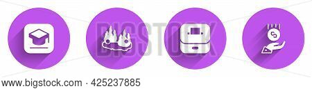 Set Graduation Cap, Burning Car, Vote Box And Coins Hand - Minimal Wage Icon With Long Shadow. Vecto