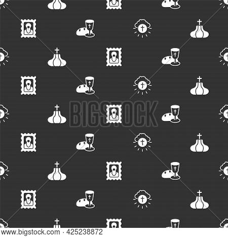 Set Religious Cross In Circle, Church Tower, Christian Icon And Goblet And Bread On Seamless Pattern
