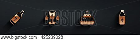 Set Holy Water Bottle, Christian Chalice, Ark Of Noah And Icon With Long Shadow. Vector