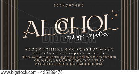 Vintage Decorative Font Offtime. Retro Typerface. Elegance Serif Alphabet. Vector Font For Label, Br