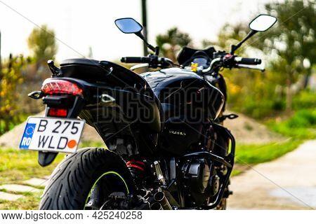 Detail Of Black Motorcycle. Honda Hornet Motorcycle Detail Photo In Bucharest, Romania, 2021