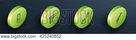Set Isometric Line Weapons Oil Bottle, Pistol Or Gun, Anti-tank Hand Grenade And Revolver Icon. Vect