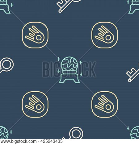 Set Line Old Key, Comet Falling Down Fast And Magic Ball On Seamless Pattern. Vector