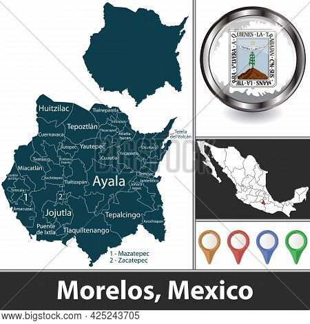 State Of Morelos With Municipalities And Location On Mexican Map. Vector Image