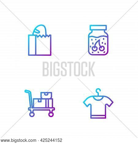 Set Line T-shirt, Hand Truck And Boxes, Paper Bag With Bread Loaf And Jam Jar. Gradient Color Icons.