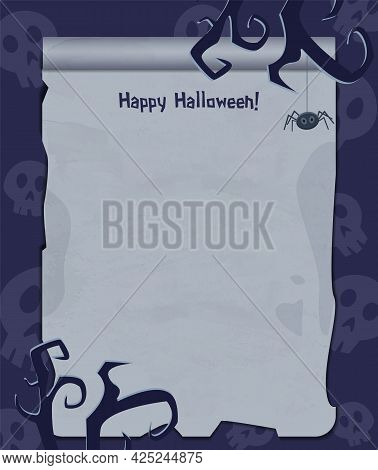Halloween Background With Empty Sheet Of Paper, Spider And Creepy Tree Branches