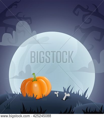 Happy Halloween Background For Design With Pumpkin And Moon