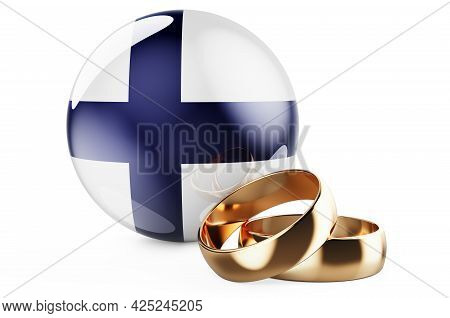 Weddings In Finland Concept. Wedding Rings With Finnish Flag. 3d Rendering Isolated On White Backgro
