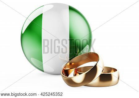 Weddings In Nigeria Concept. Wedding Rings With Nigerian Flag. 3d Rendering Isolated On White Backgr