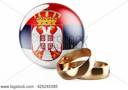 Weddings In Serbia Concept. Wedding Rings With Serbian Flag. 3d Rendering Isolated On White Backgrou