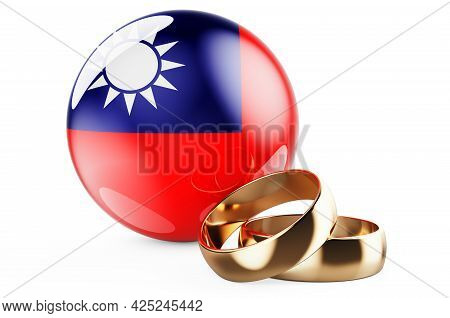 Weddings In Taiwan Concept. Wedding Rings With Taiwanese Flag. 3d Rendering Isolated On White Backgr
