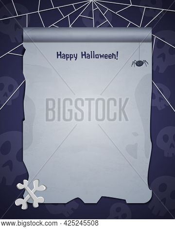 Halloween Skull Background With Empty Sheet Of Paper On The Bone And Spider