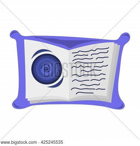 Open Book With Swirl For Halloween. Happy Halloween Celebration. Spell From A Magic Book. Cartoon Ve