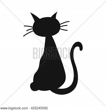 Black Silhouette Of Cat. Happy Halloween Holiday. Horror Night. Vector Cartoon Illustration