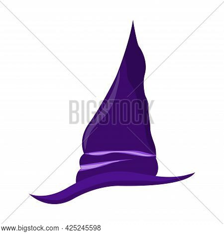 Halloween Purple Hat. Witchs Hat On White Background. Happy Halloween Holiday. Decoration For Horror