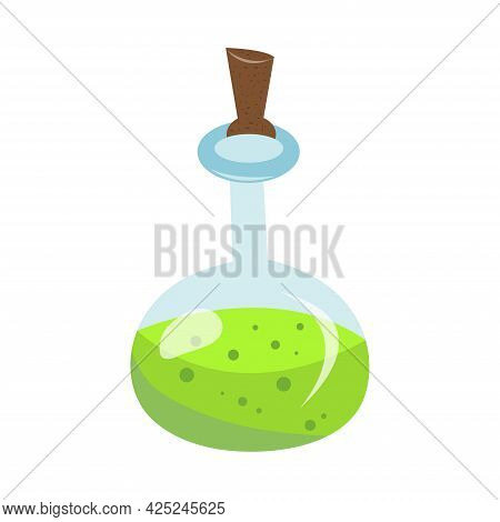 Halloween Glass Green Potion Bottle With Bubbles. Happy Halloween Holiday. Decoration For Horror Nig