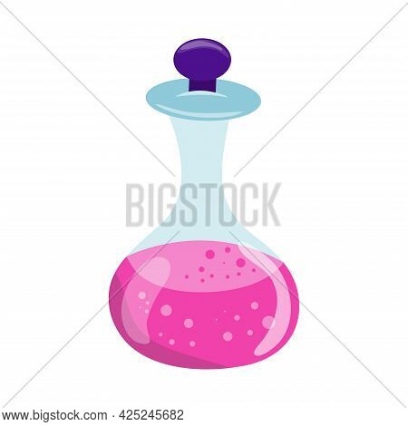 Halloween Glass Pink Potion Bottle With Bubbles. Happy Halloween Holiday. Decoration For Horror Nigh