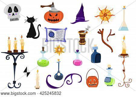 Set Of Halloween Elements. Symbols For Celebration Of Halloween. Happy Halloween Holiday. Decoration