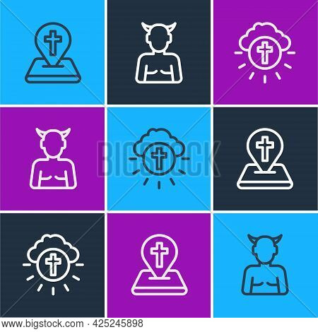 Set Line Location Church Building, Religious Cross Circle And Krampus, Heck Icon. Vector