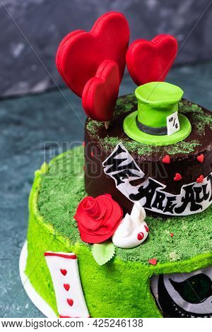 Green Cake Alice In Wonderland With Mastic Sweet Hat