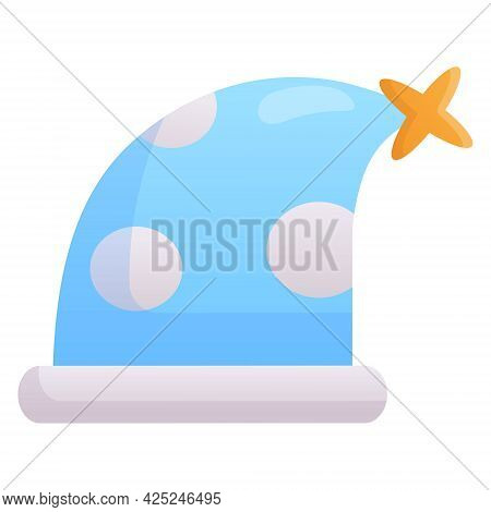 Vector Simple Isolated Icon On White Background. Flat Nightcap Sticker With Circles And Pompom. Baby