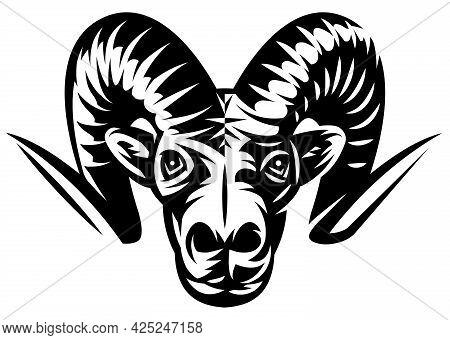 Ram Head. Template For Design. Vector Monochrome Illustration.