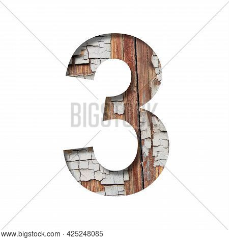 Vintage Backdrop Font. Digit Three, 3 Cut Out Of Paper Against The Background Of An Old Wooden Wall