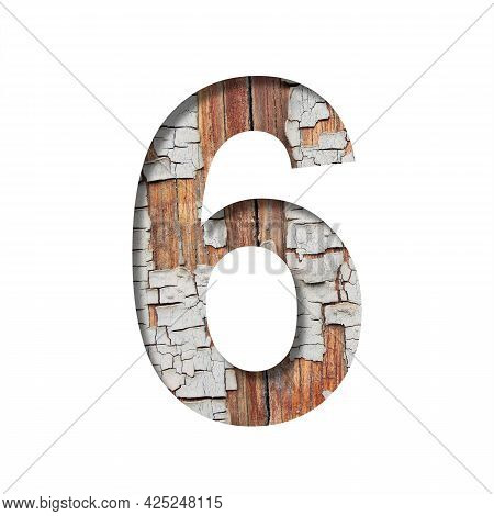 Vintage Backdrop Font. Digit Six, 6 Cut Out Of Paper Against The Background Of An Old Wooden Wall Wi