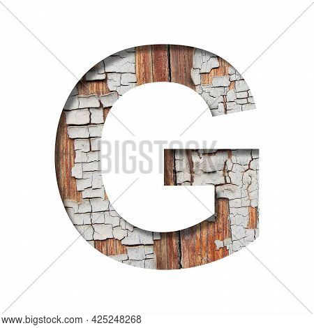 Vintage Backdrop Font.the Letter G Cut Out Of Paper Against The Background Of An Old Wooden Wall Wit