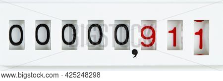 911 Numerals On The Meter Panel, Concept Nationwide Emergency Number In Us