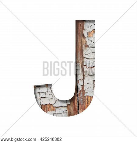 Vintage Backdrop Font.the Letter J Cut Out Of Paper Against The Background Of An Old Wooden Wall Wit