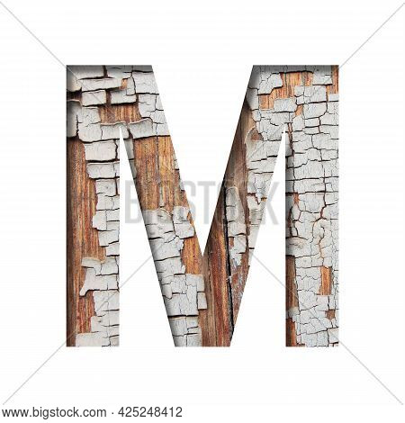 Vintage Backdrop Font.the Letter M Cut Out Of Paper Against The Background Of An Old Wooden Wall Wit