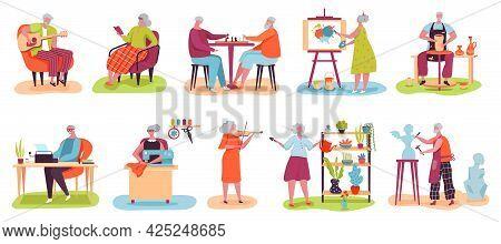 Elderly People Hobby. Older Men And Women Playing Chess, Reading Books, Painting, Gardening. Senior