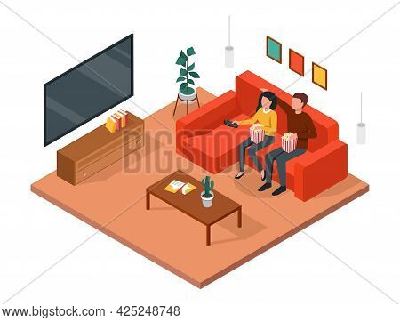 Couple Watching Tv. Man And Woman Sitting Together On Sofa, Enjoying Movie, Relaxing At Home. Living