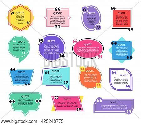 Quote Boxes. Colorful Quotes Frames With Quotation Marks. Dialog Bubble Box, Information Tag, Text M