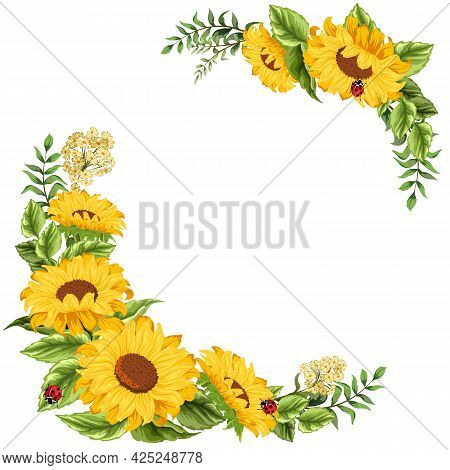 Illustration With Sunflowers Decor.decorative Frame From Sunflowers On A White Background In Vector