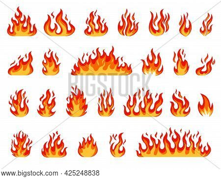 Cartoon Flame. Bonfire Flames, Fireballs, Burning Candle Or Torch Flame, Blazing Fire. Comic Red Or
