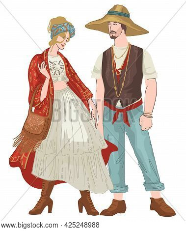 Bohemian Couple Man And Woman Wearing Clothes