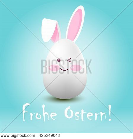 Easter Egg-hare On A Blue Background With The Inscription