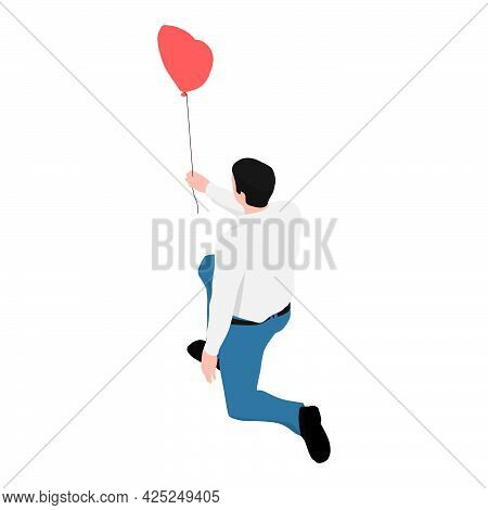 A Man In A Shirt And Jeans Holding A Heart-shaped Balloon. The Man Got Down On One Knee And Holding