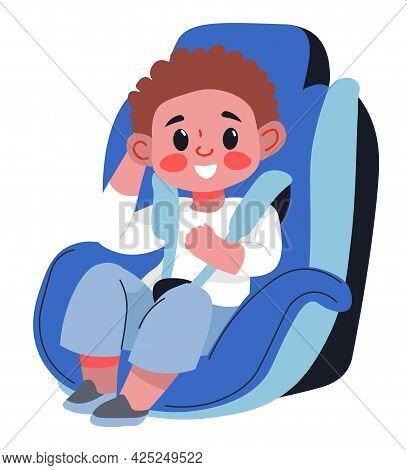Child Boy Sitting In Car Seat With Fasten Belts