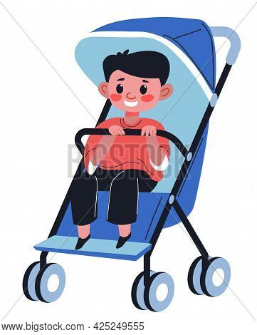 Baby Boy Sitting In Perambulator Holding Handle