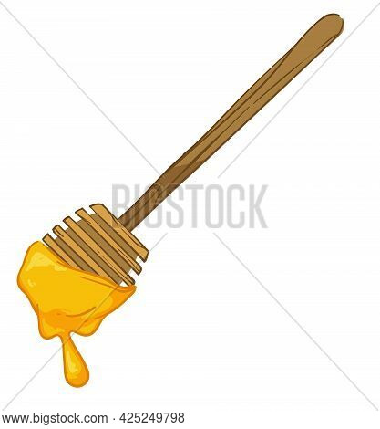 Wooden Honey Dipper With Sweet Nectar Dripping