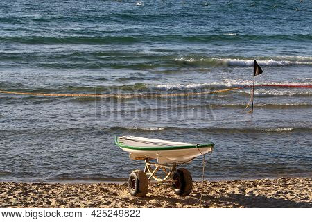 Sandy Beach On The Shores Of The Mediterranean Sea In Northern Israel. Hot Summer In Israel.