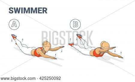 Girl Doing Swimmers Exercise Fitness Home Workout Guidance Illustration. Lying Back Woman Exercise.