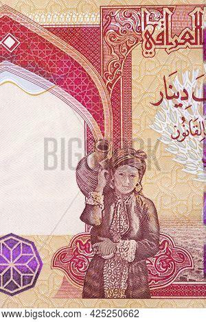 A Kurdish Farmer Holding A Sheaf Of Wheat From Iraqi Money
