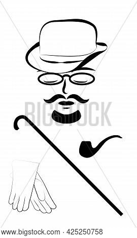 Gentleman In Hat With Cane, Glasses, Tube And Gloves, Black And White