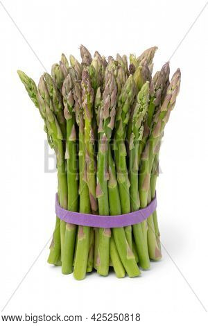 Binch of fresh raw green asparagus tips isolated on white background