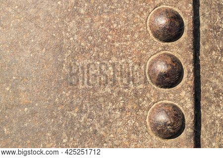 Old Military Relief Texture Bodywork With Large Rivets On Board The Armoured Military Vehicle. Bruta
